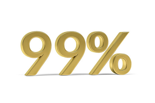Gold digit ninety nine with percent sign - 99% isolated on white - 3D render