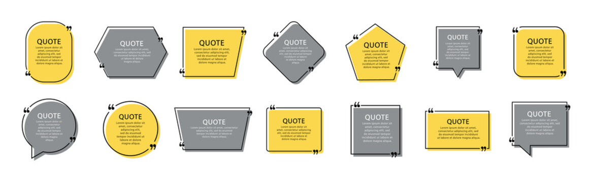Quote box set. Quote box frames. Modern templates quote with space for text. Vector illustration.
