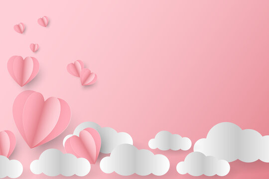 Paper art of heart flying in the sky, valentine's day concept, vector art and illustration.