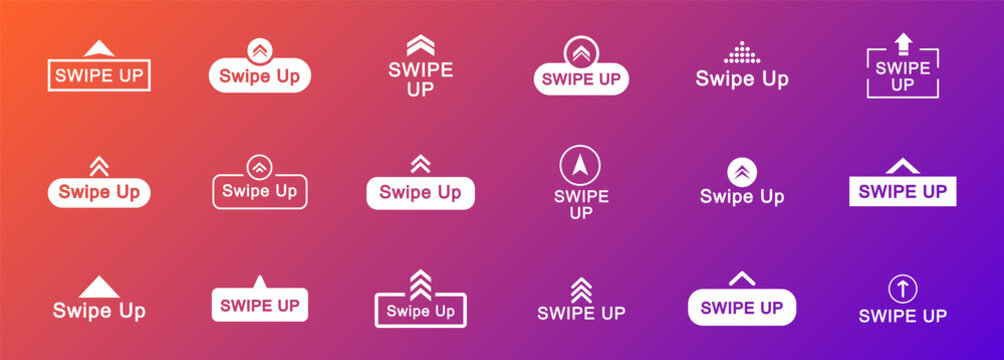 Swipe up icon set. Arrow up buttons. Swipe Up icons for social media stories. Scroll pictogram. Web icons for advertising and marketing. Vector illustration.