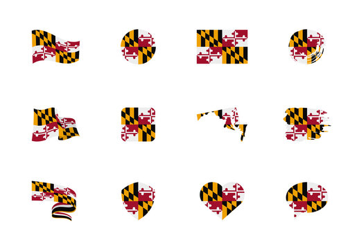 Maryland - flat collection of US states flags. Flags of twelve flat icons of various shapes. Set of vector illustrations