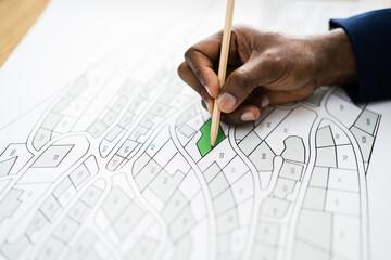 Fototapeta Land Map And Urban Building Project Plan
