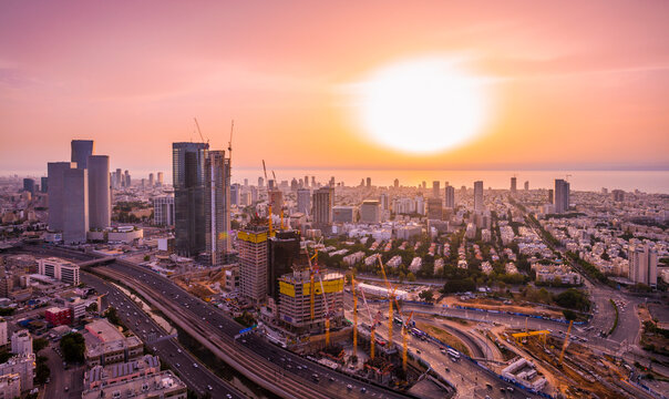 Tel Aviv Cityscape Aerial View At Sunset, Israel