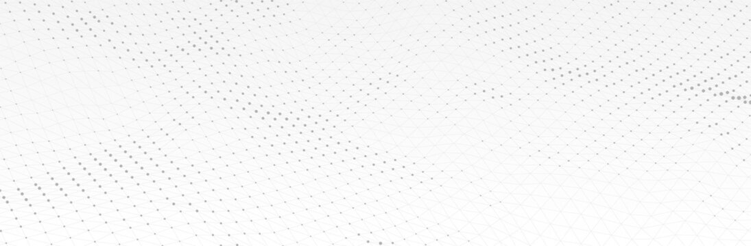 White Gray background. 3d dotted surface. Futuristic landscape. Technology presentation backdrop. Vector illustration