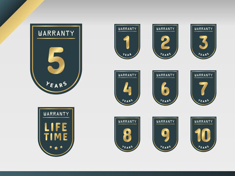 1, 2, 3, 4, 5, 6, 7, 8, 9, 10 years and lifetime warranty label set. Vector Design Illustration.