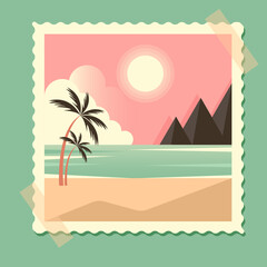 summer retro card with sea and palm trees