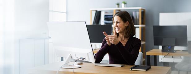 Fototapeta Virtual Remote Video Call With Staff obraz