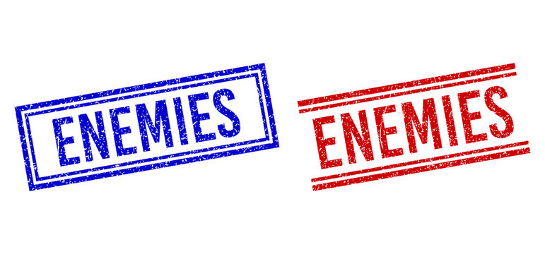 ENEMIES rubber watermarks with distress style. Vectors designed with double lines, in blue and red variants. Text placed inside double rectangle frame and parallel lines.