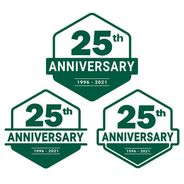 25 years anniversary celebration logotype. 25th anniversary logo collection. Set of anniversary design template. Vector and illustration.