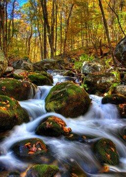 Waterfalls on Stauton River in Bear Church Rock trail in shenandoah national park