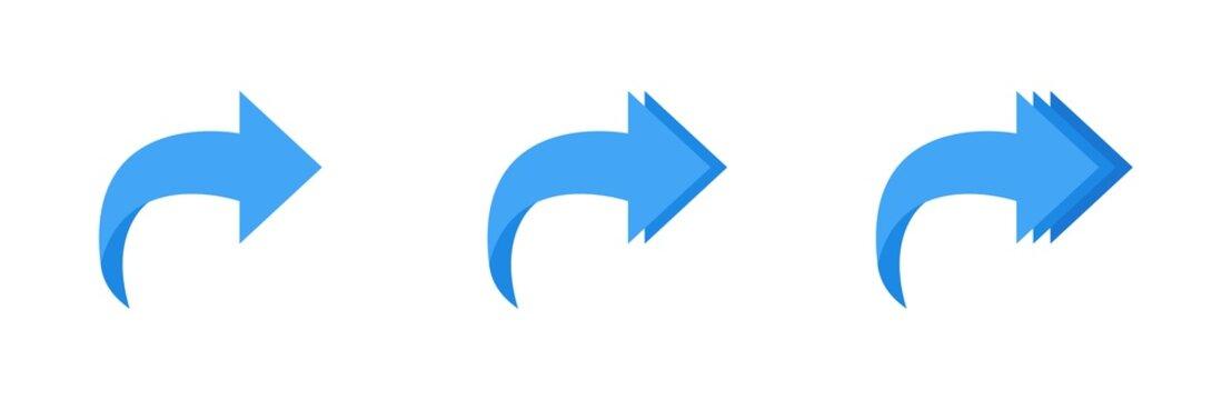 Forward arrow icon set. Arrow collection. Share sign. Arrow pointing right. Up arrow button symbol. Arrow set. Cursor icon vector illustration. Web design. Play button icon vector illustration.