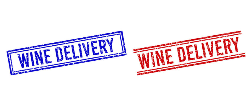 WINE DELIVERY rubber overlays with grunge texture. Vectors designed with double lines, in blue and red variants. Tag placed inside double rectangle frame and parallel lines.