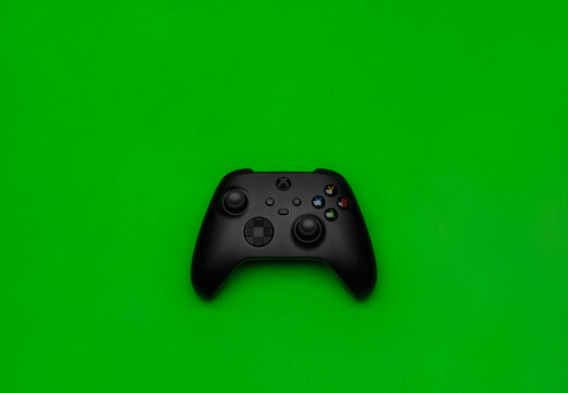 January 18, 2021, Odessa, Ukraine. . A black Xbox Wireless Controller. Compatible Xbox Series X|S, Xbox One on a green back.