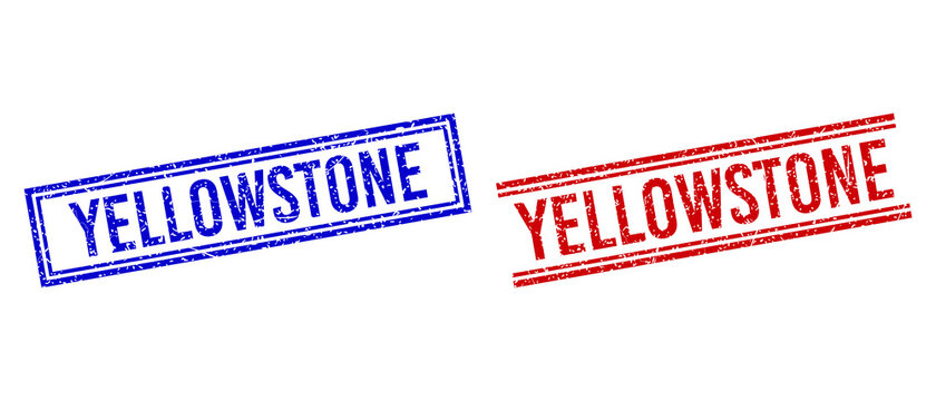 YELLOWSTONE rubber imprints with grunge texture. Vectors designed with double lines, in blue and red colors. Caption placed inside double rectangle frame and parallel lines.