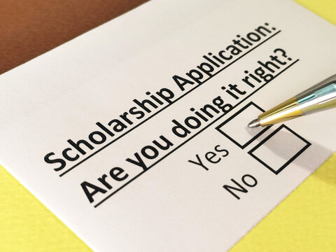 One person is answering question about scholarship application.