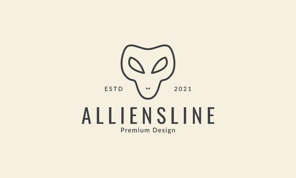 simple head alien line logo symbol icon vector graphic design illustration