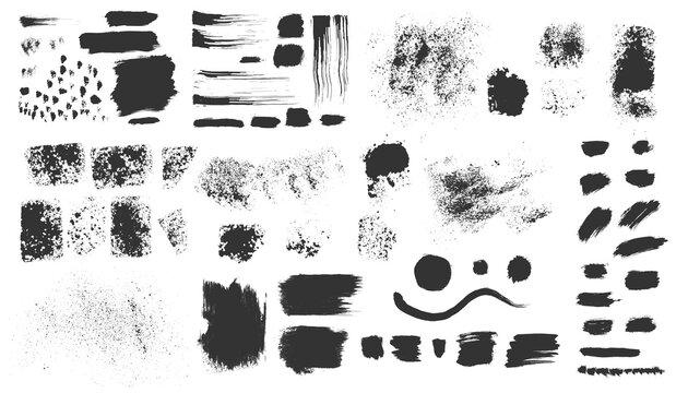 Vector hand drawn ink design elements. Sponge stamps, dry brush marks, splatter sprinkles, wave, black frames. Set of grunge black artistic brushstroke design elements isolated on white background