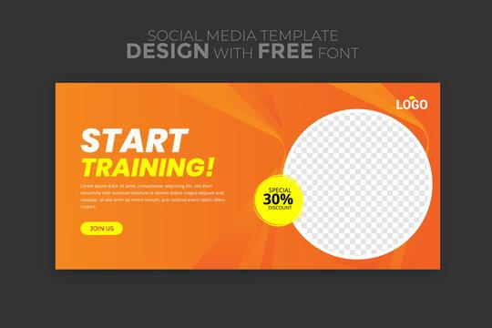 Gym Fitness social media post design template Premium Vector