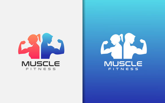 Muscle Fitness Gym Logo Design. Muscular Woman and Man Stand Together as A Symbol of The Gym.