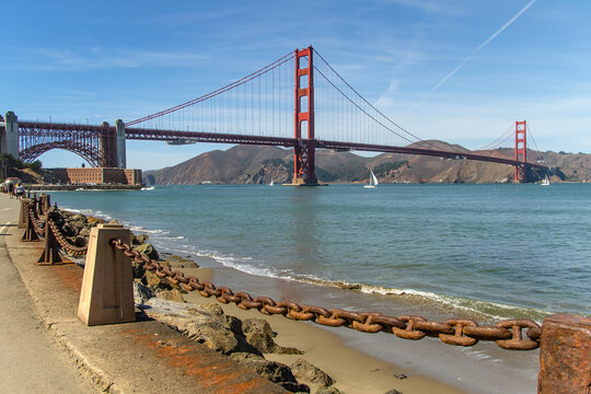 The famous Golden Gate Bridge view from the south coast, from the Fort Point embankment.