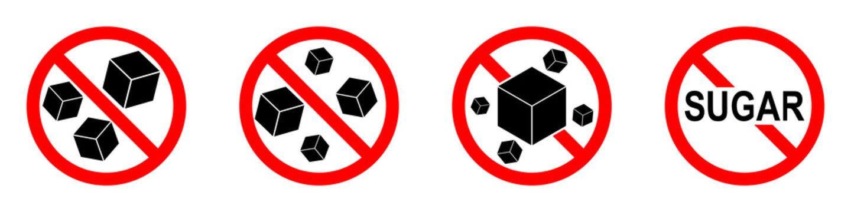 Sugar ban icon. Sugar is prohibited. Stop sugar icon.