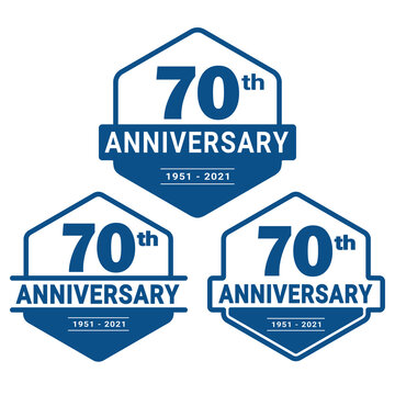 70 years anniversary celebration logotype. 70th anniversary logo collection. Set of anniversary design template. Vector and illustration.