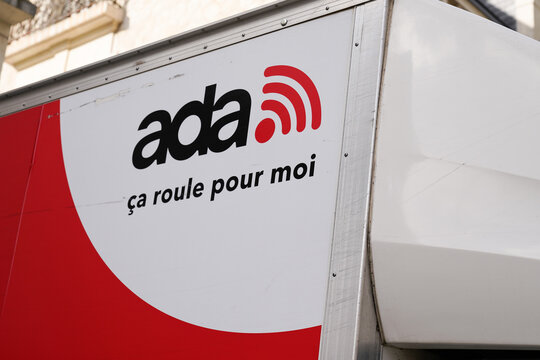 Ada Car logo sign brand and text logo of Rental vehicles Office in France on store entrance agency