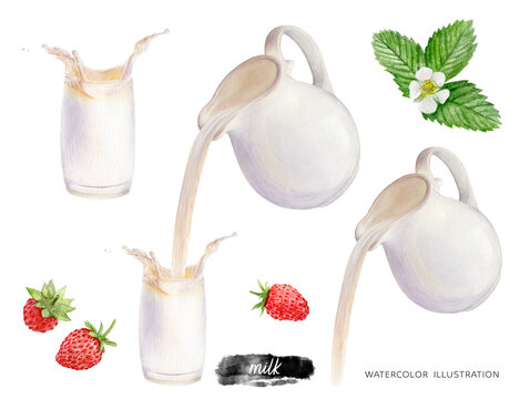 Pouring milk from a jug into a glass wild strawberries watercolor illustration isolated on white background