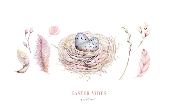 Watercolor happt easter nest with bird eggs with branch and feather isolated on white. Spring hand drawn illustration. Boho egg ans feather nests wreath. Holiday decoration