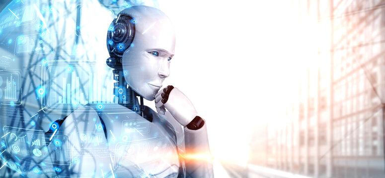 Thinking AI humanoid robot analyzing information data in concept of artificial intelligence by machine learning process for 4th fourth industrial revolution . 3D illustration.