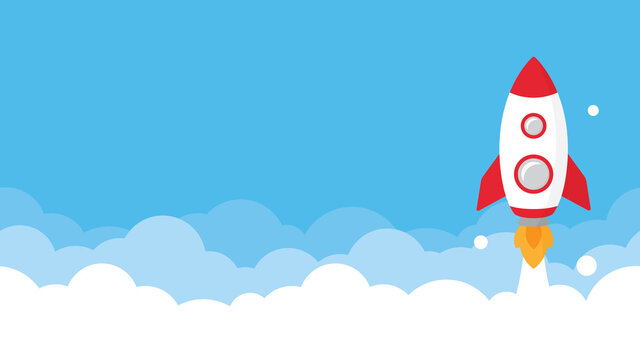 Rocket ship launch into bright blue sky presentation template background.