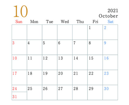 2021年 シンプルカレンダー 10月