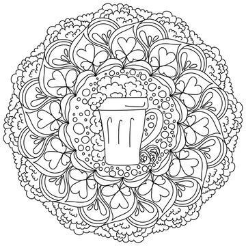 Abstract mandala for st patrick's day coloring page with a glass of foamy beer in the center and clover leaves