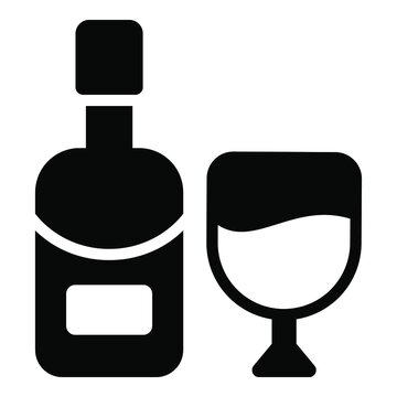 beer, wine bottle black simple icon decorative element for valentine's day.