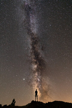 Rear view of unrecognizable person under the milky way