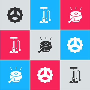Set Bicycle sprocket crank, air pump and bell icon. Vector.
