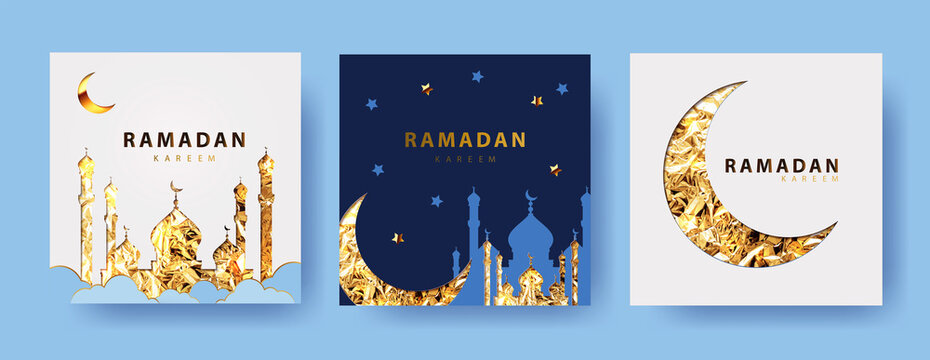 Ramadan kareem  vector Set of greeting cards, posters, holiday covers. Modern design with golden foil shining crescent and mosque in the clouds on white and blue background.