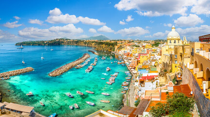 Wall Mural - Landscape with colorful houses in Procida island, Italy