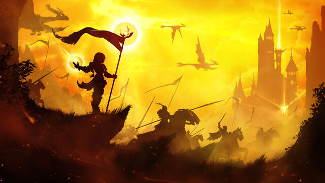 Silhouette of a little girl with a flag standing in a battle-calling pose, under her command an army of knights on horseback and dragons flying through the yellow sky. 2d illustration