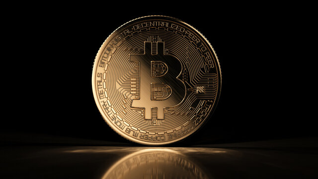 Golden bitcoin coin on black reflective background. Popular digital currency. Cryptocurrency created, distributed, traded, and stored in decentralized ledger system known as a blockchain.