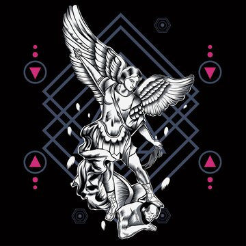 Archangel of heaven with sacred geometry background