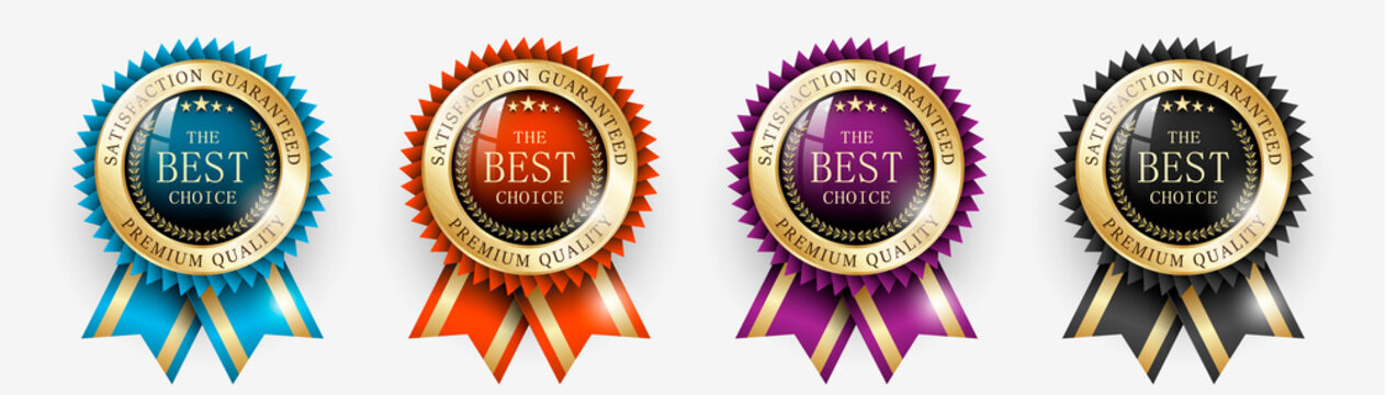 Premium quality / Best choice medals set. Realistic golden labels - badges, best choice with ribbon. Realistic icons isolated on transparent background. Vector illustration EPS10