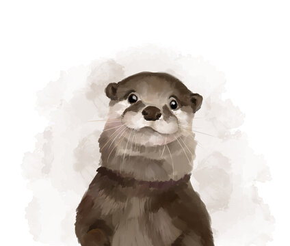 Cute otter, watercolor