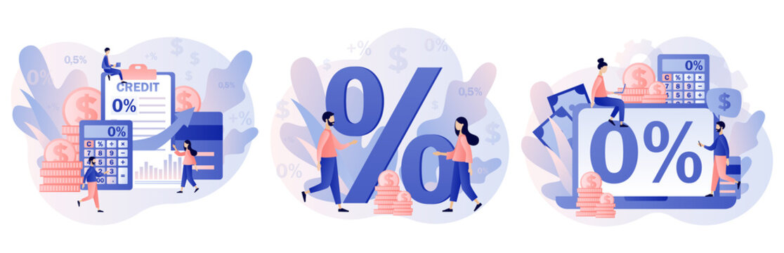 Bank credit concept. Percent, good interest rate, interest-free. Finance management. Tiny people signing loan agreement. Modern flat cartoon style. Vector illustration on white background