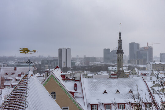 Winter old city Tallinn Estonia