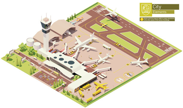 Vector isometric airport terminal infrastructure. Parked airplanes with boarding bridges, postal service aircraft loading, airplane on the runway, aircraft maintenance hangars, airport machinery and w