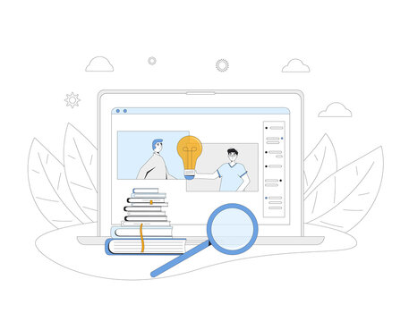 Brainstorming. Online education. Digital learning. Two men talking to each other on computer screen. Teacher and student. Internet webinar or online video training. Vector color line art illustration.