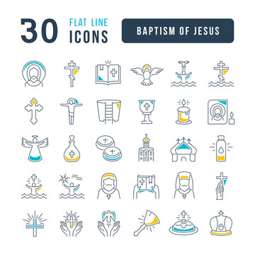 Set of linear icons of Baptism of Jesus