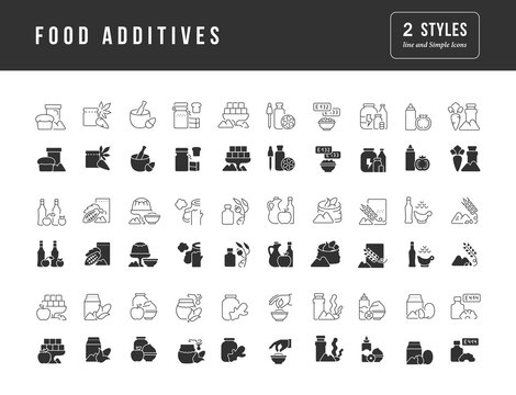 Set of simple icons of Food Additives