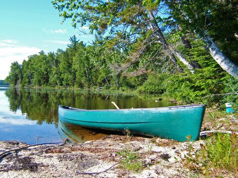 Canoe on the shore of a lake
